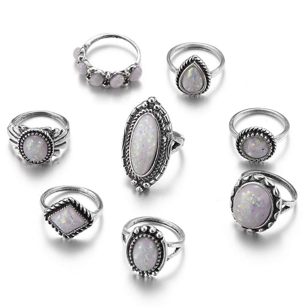 Fashion Ring, Hoshell 8pcs/Set Bohemian Sterling Silver Natural Gemstone Fire Opal Diamond Above Knuckle Ring