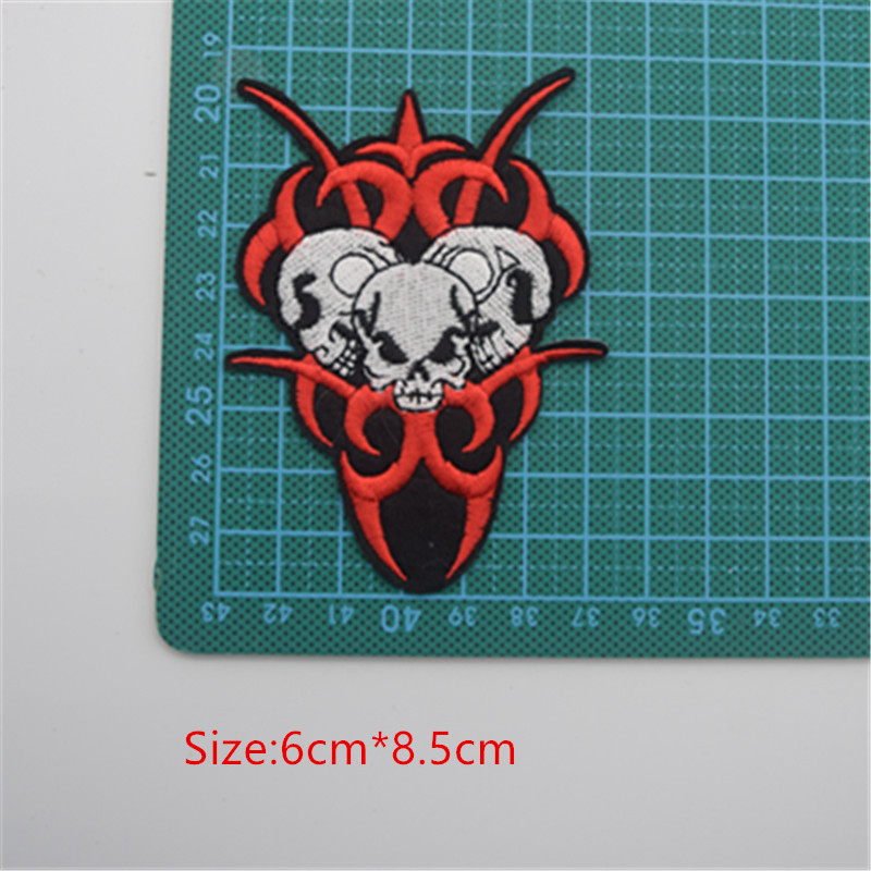 Skulls Badge Iron On Patches Embroidered Clothes Applique Trim 9 Designs