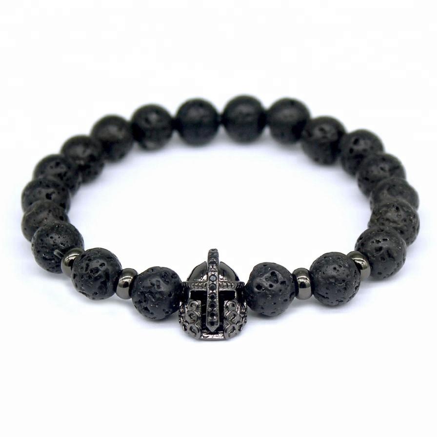 Men Women Cheap Wholesale Unisex 8mm Black Lava Energy Lava Stone Beads Bracelet Trendy Helmet Stretch Bracelet Lucky Bracelet, Gold/rose gold/silver/black