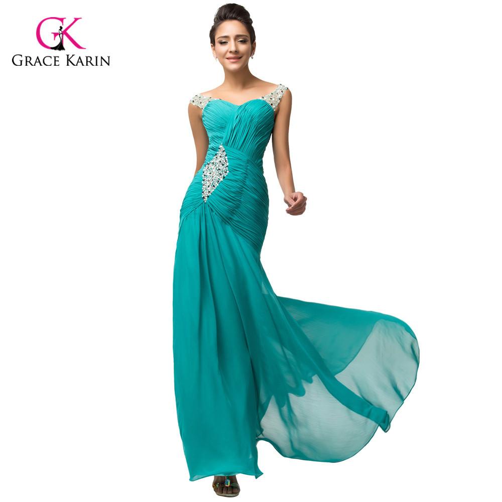 Elegant Green Turquoise Chiffon long Formal Evening ...