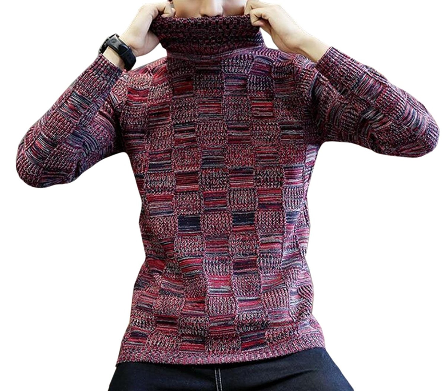 e495a1c7 Get Quotations · Jaycargogo Mens Custom Slim Fitted Turtleneck Long Sleeved  Wild Knit Sweaters