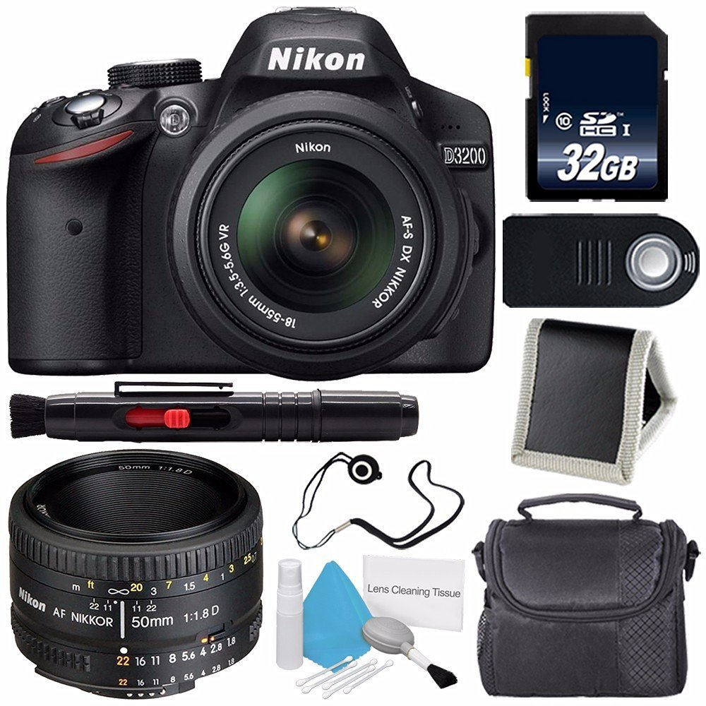 Nikon D3200 Digital Camera w/ 18-55 VR II Lens (International Model No Warranty) + Nikon 50mm f/1.8D AF Nikkor Lens + 32GB SDHC Class 10 Memory Card Bundle 105