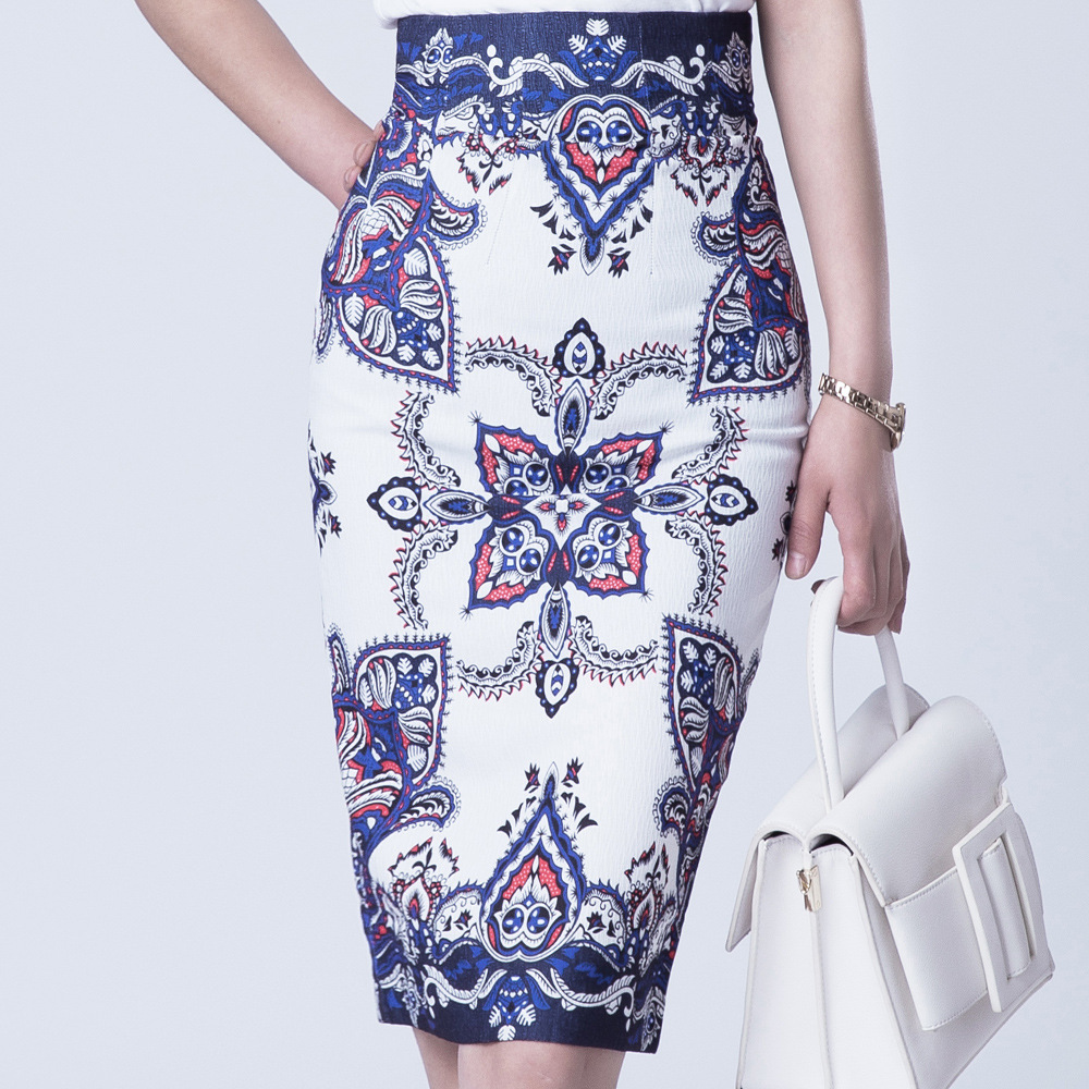 B12300A Wholesale office lady skirt, formal women skirt,floral women pencil skirt