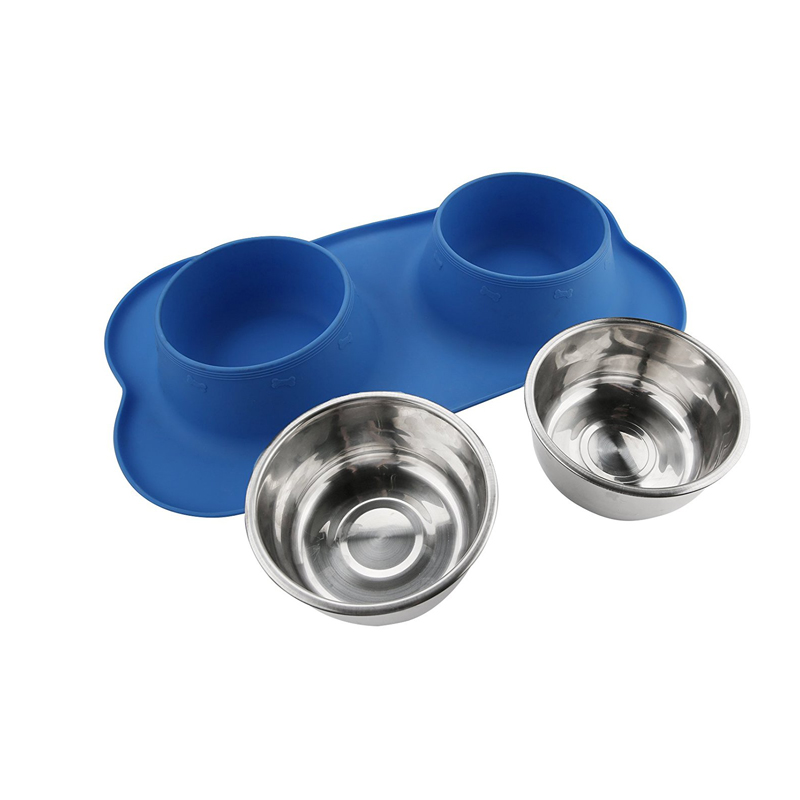 Food Grade Non-Skid Silicone Dog Bowl , Stainless Steel Dog Bowl No Spill Pet Food Bowl