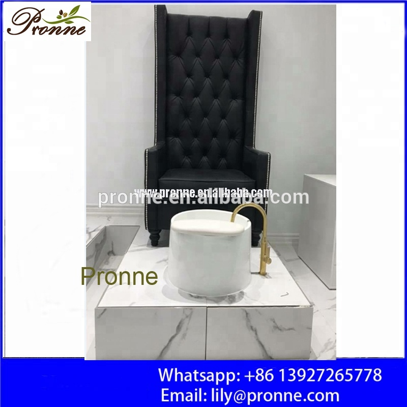 Gaya Baroque Black Spa Furniture Pedicure Kursi dengan Emas Keran
