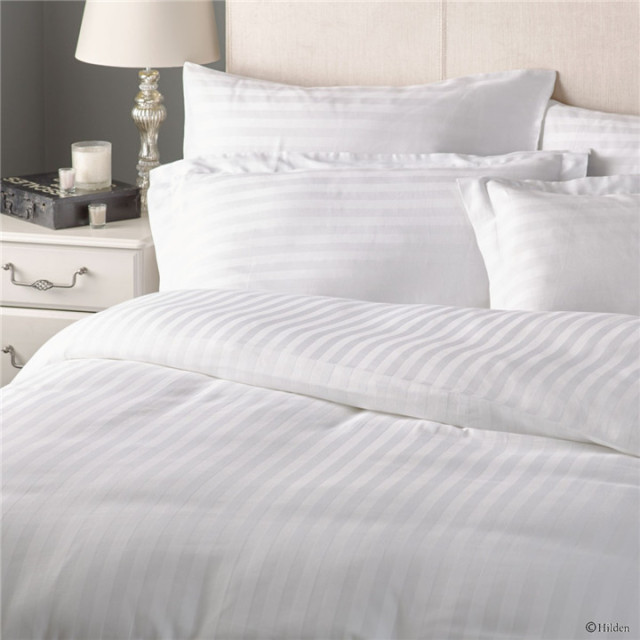 Hot Selling Bed Sheet Designs 250TC Satin Stripe Double Size Hotel Bedding  Set
