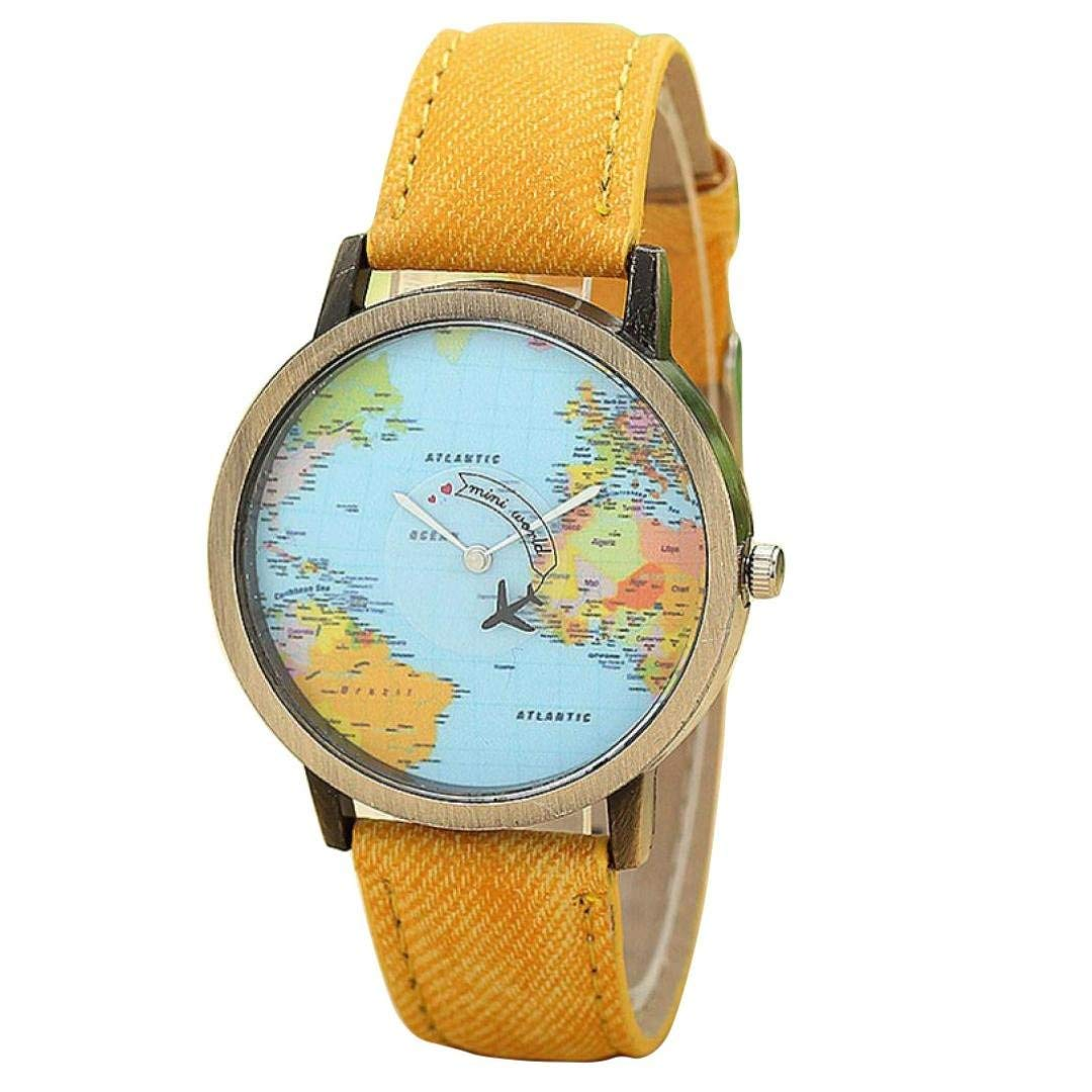 Jaylove Hot Sale Retro Fashion Global Travel By Plane Map Printed Women Dress Watch Denim Fabric Band Wrist Watches