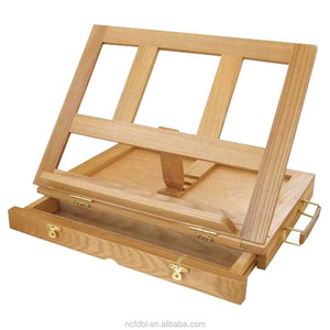 Art Supplies Painters Artists Adjustable Desk Box Easel with Drawer, Natural Wooden Easel for Kids