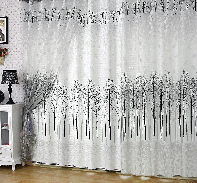 Buy Elleweideco Modern White And Black Tree Branch Window Sheer Curtain Drape Panel 52wx84l Sheer In Cheap Price On Alibaba Com