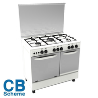 High ranking low price white body gas cooker with oven with double ovens