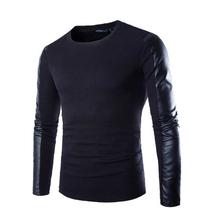 2015 New Arrival T Shirt Men Long Sleeve Spring Fashion Mens Black Pu Leather Tshirt Casual Brand Fitness Sport T-shirt Xxl