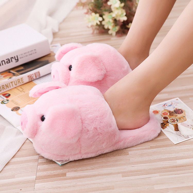 China Factory  Cheap Wholesale Plush Toys Cut  Indoor Pig Slipper