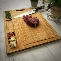 Extra large thick organic bamboo cutting board with 3 built-in compartments and juice grooves