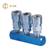 3 WAY MANIFOLD WITH NITTO/JAPAN PNEUMATIC AIR RELEASE QUICK COUPLER,TWO TOUCH COUPLINGS