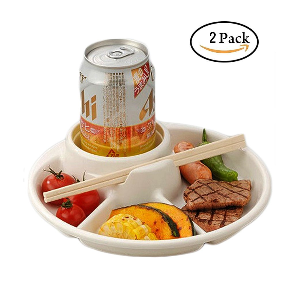 inomata 3-Compartment plate beer, drink,Cup holder total 4 Section, BBQ, Party, Picnic D:8.2in, H:1.8in 2 pack