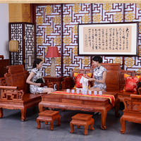 Valuable Luxury Authentic Burmese Rosewood Classic Home Furniture 8 Pieces Sofa And Chair &Stool Set For Living Room Decoration