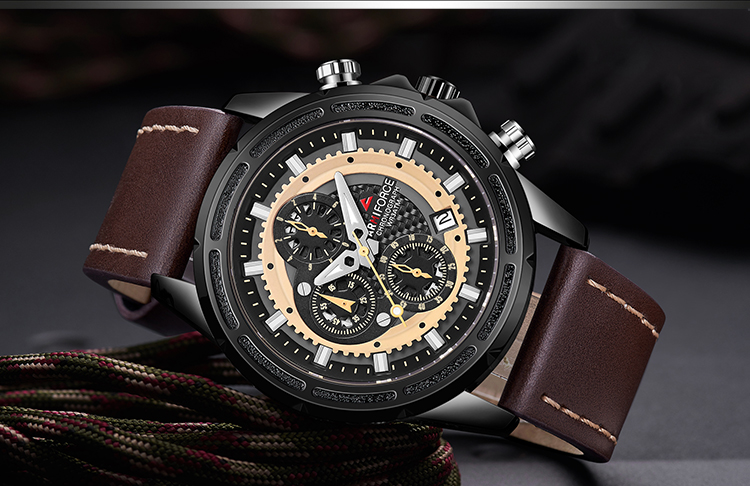 ARMIFROCE 8004 Sport Military Quartz Watch,Multifunction Chronograph Leather Watch for Men