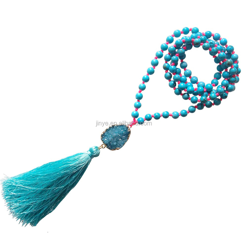 Fashion Druzy Turquoise Mala Beaded Tassel Necklace