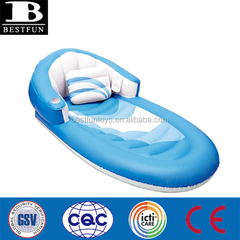 Marvelous 68 Deluxe Blue And White Inflatable Swimming Pool Lounger With Pillow Plastic Soft Vinyl Recliner Chair Lounge Chair Air Bed Buy Lounger With Cjindustries Chair Design For Home Cjindustriesco