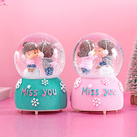 80mm resin glass ball romantic souvenir birthday gift musical snow globe
