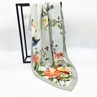 Custom design high quality soft hand felling digital printing mulberry silk scarf for women