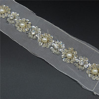 Wholesale fancy diamond rhinestone lace webbing bridal veil embroidered trim by the yard