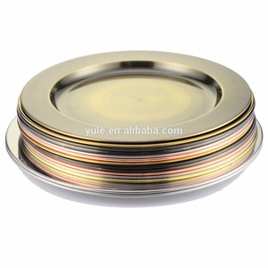 wedding decoration classic high quality 201SS Red bronze/ Green bronze charger plate