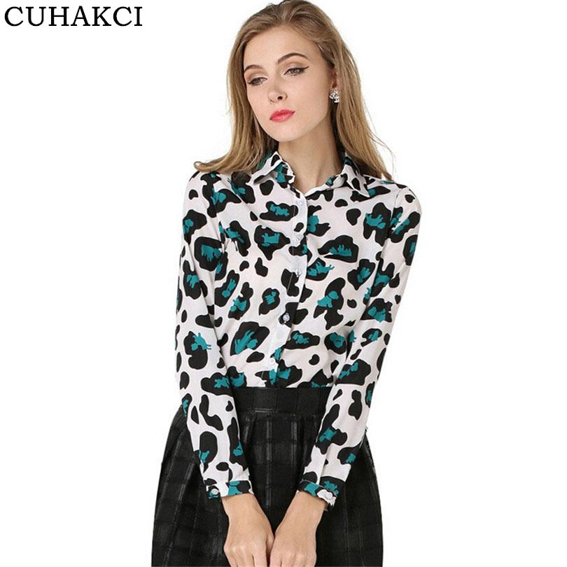 New Design Femme Blouses Ladies Summer Tops Full Sleeve Spot Female Chiffon Big Size Leopard Blouses фото