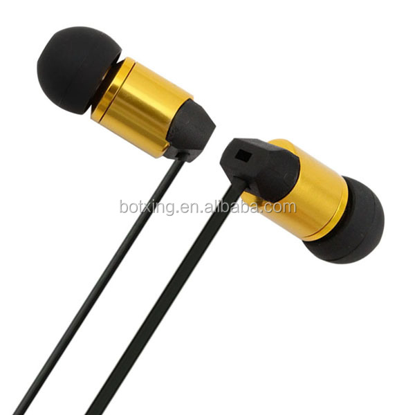 flat wire earphone with tangle-free wire and free earplugs