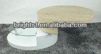 Glass shelf mdf oval rotating coffee table #QJ-091R1