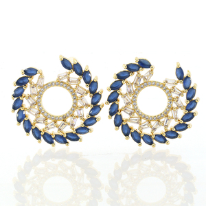 New design gold color blue cz setting brass earrings for girls