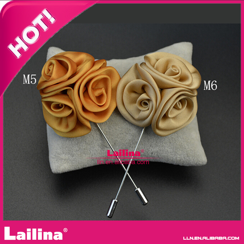 Guangzhou wholesale clutch boutonniere fabric mens flower lapel for promotion