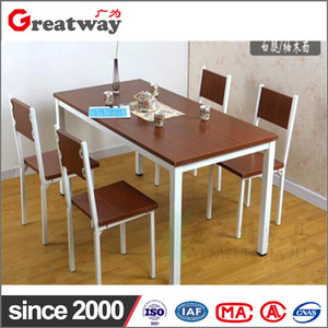 Best selling wooden steel regular desk swing office canteen furniture dining table set