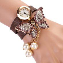 8 Cores Nova Moda relogio feminino Casual PU LEATHER Mulheres Relógio de Pulso Relógio Pulseira Pingente de Borboleta Relógios de Quartzo
