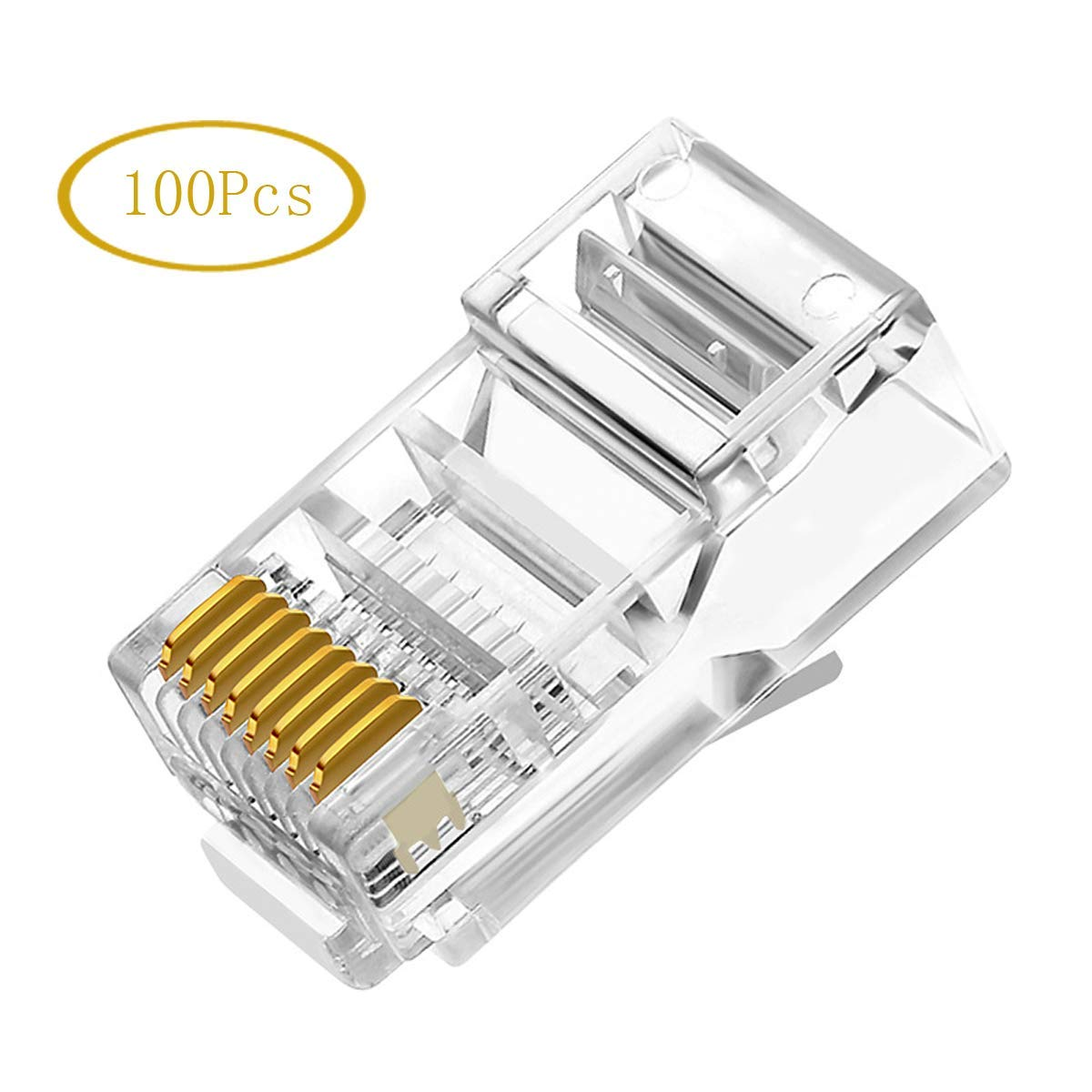 RJ45 Connector - 100PCS Ethernet Cable Crimp Ends 8P8C UTP Network Plug for CAT5 CAT5E CAT6 Solid Wire and Stranded Cable - Solid Crystal Head - Transparent
