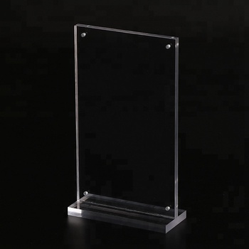 Custom T shape a6 clear acrylic magnetic sign holder for photo displaying