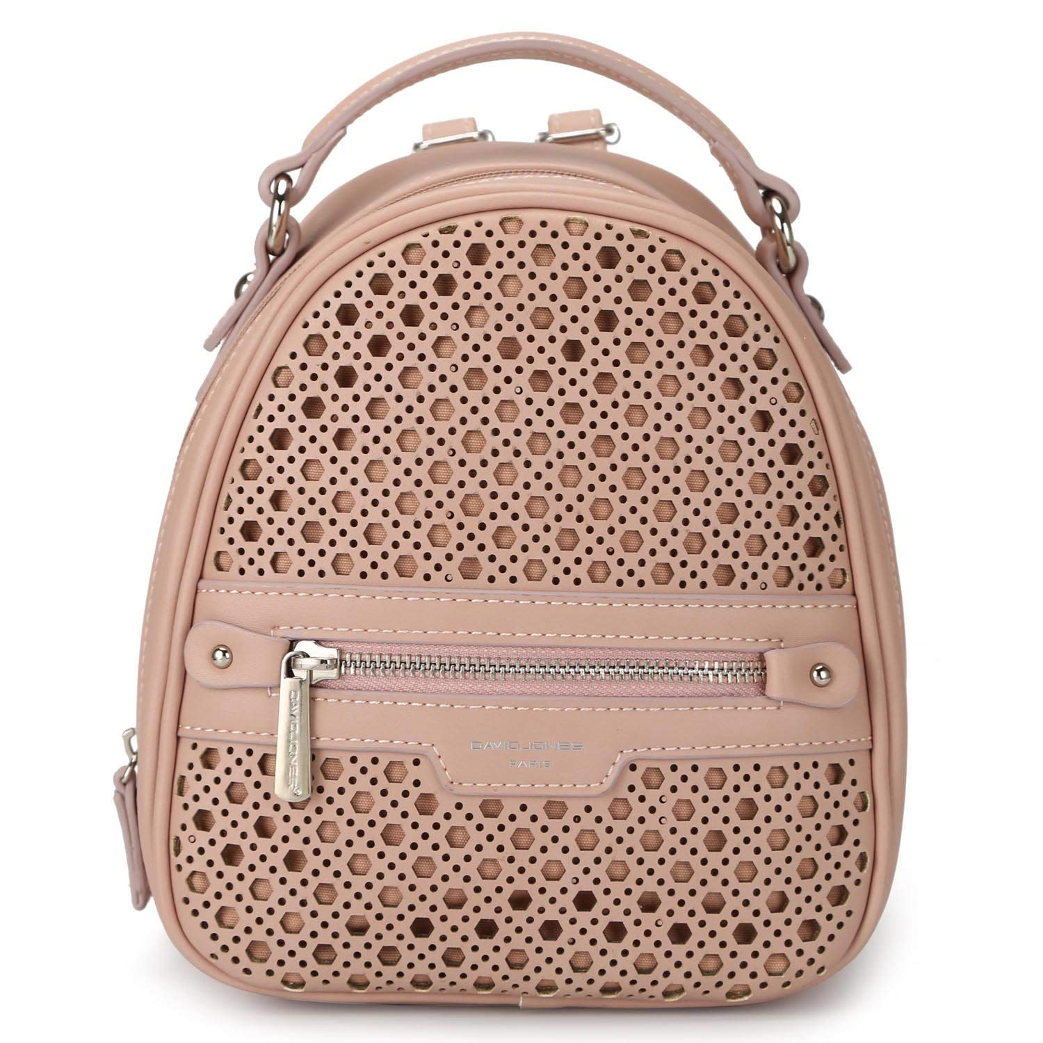 9f65f040b767 Get Quotations · DAVIDJONES Women s Faux Leather Mini Perforated Backpack  Shoulder Bag Travel Purse