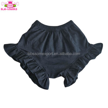 Summer Baby Bummies Gracie Shorts Solid Black Toddler Girls Cotton Ruffle Bloomer