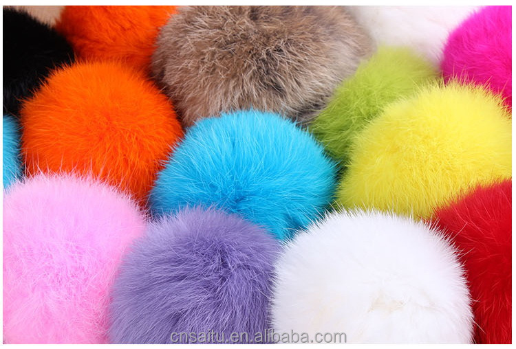 STRF-06 dyed purple pink colors Hebei rabbit fur pompoms thick hairs 6cm for fashion keychains bag purse charms