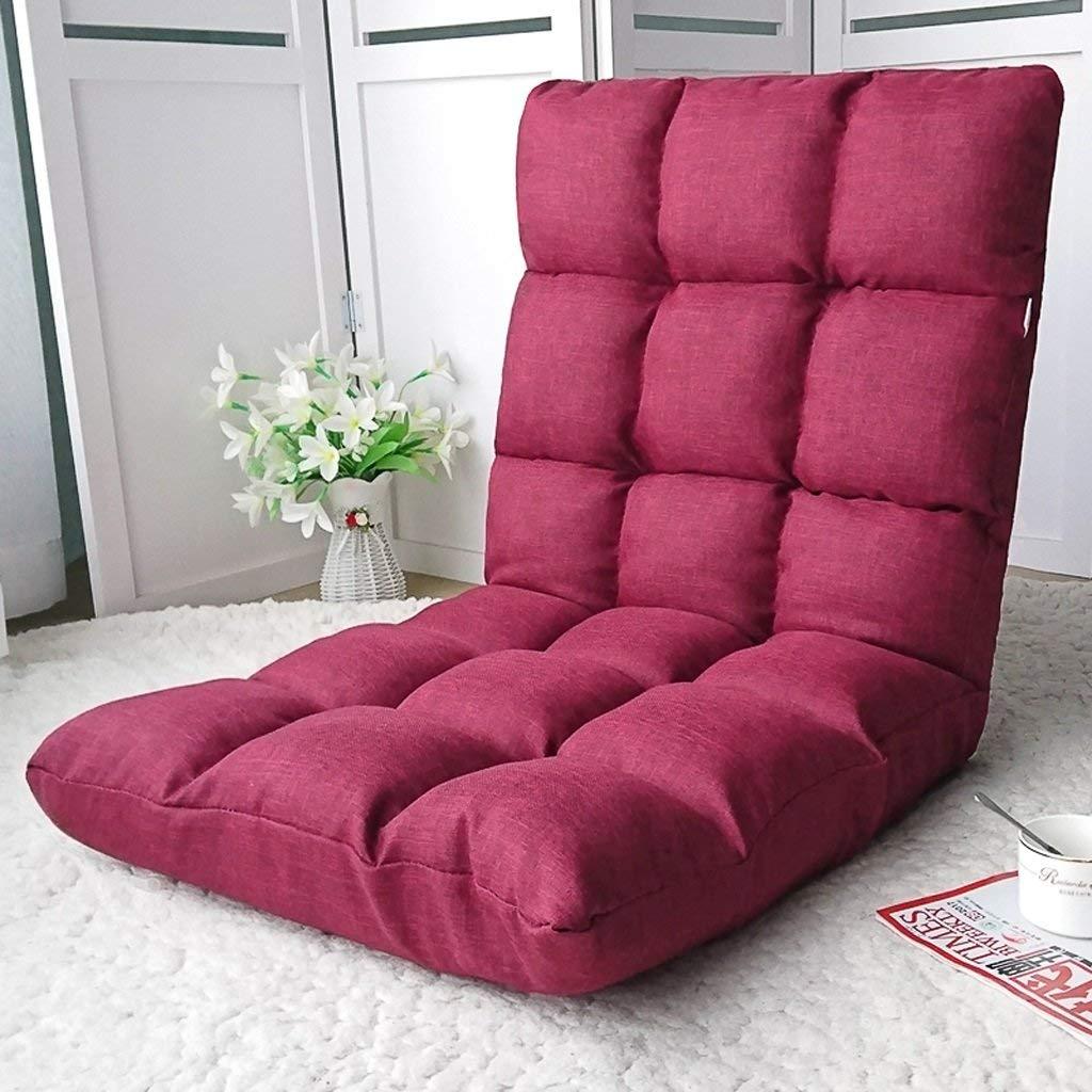 Li Jing Firm Lazy couch stylish single multifunctional sofa single tatami sofa small bedroom sofa chair bed chair/sofa cute folding back sofa soft and comfortable (Color : Magenta)