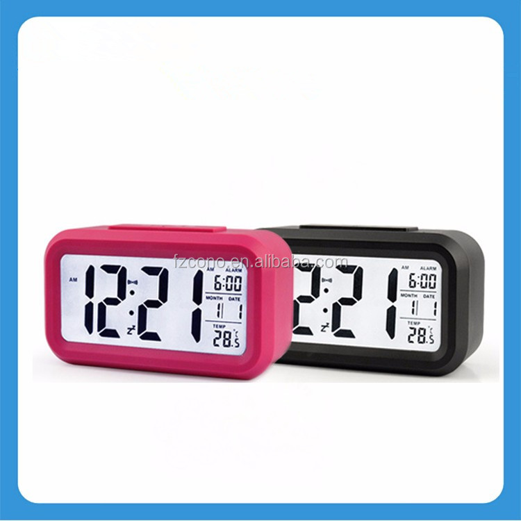 Snooze Light Large Display LCD Backlight CE Slim Digital Travel Alarm Clock with Calendar Battery