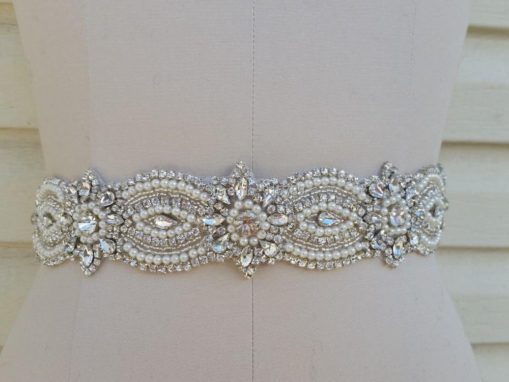 Unique Wedding Dress Sashes Belts: Luxury Vintage Sparkly Wedding Bridal Belt Crystal Sash