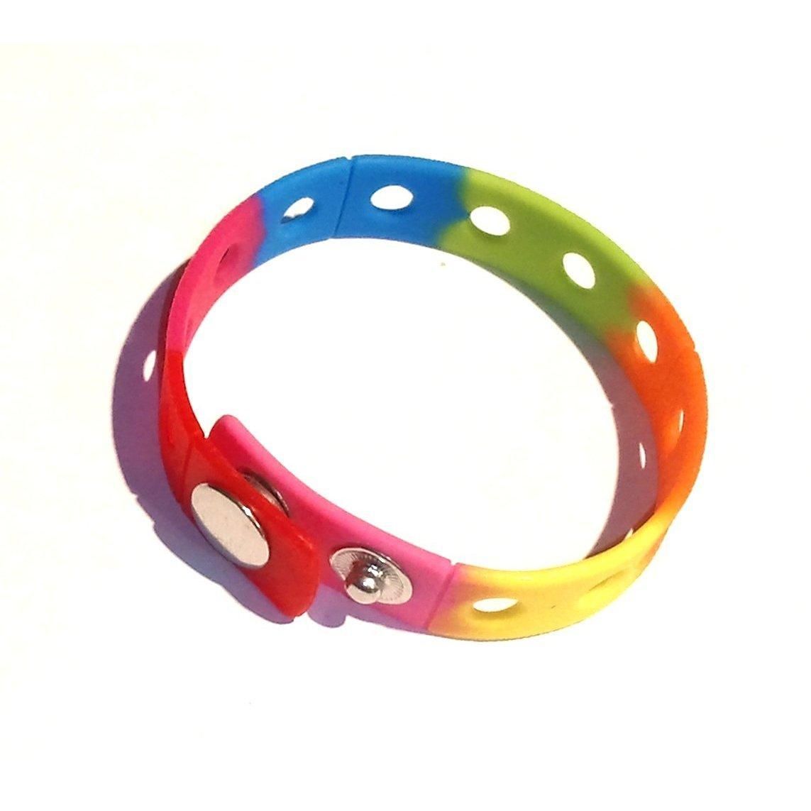 "7"" Rainbow Rubber Bracelet Wristband for Shoe Jibbitz Crocs Charms"