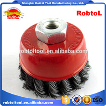 "3"" steel wire cup brush wheel twist knot crimped bowl disc abrasive M14 round grinding cheaning brush"