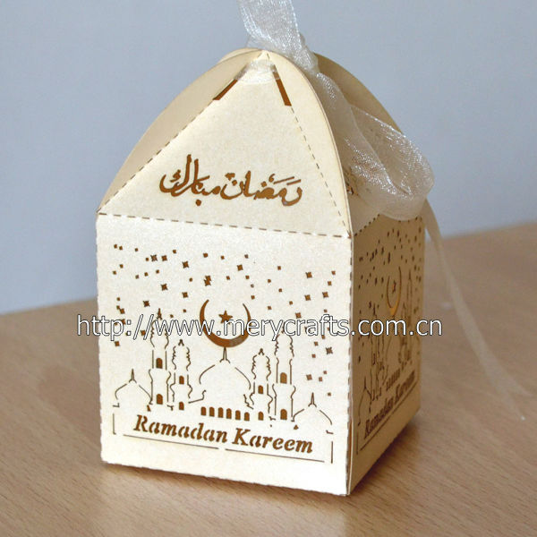 "300 pieces/lot 250g Pearl Paper Giveaway Box! ""Ramadan"" Wedding Favors And Gifts With Free Organza Ribbon From Mery Crafts"