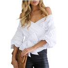 2019 new designs Sexy strapless V-neck cross straps short ladies plus size shirts & blouses & tops for women