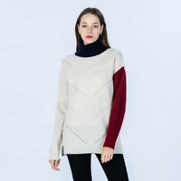 Women Autumn/Winter Knitwear Fashionable Casual Pointelle Long Sleeves Turtle Neck Cashmere Pullover Sweater