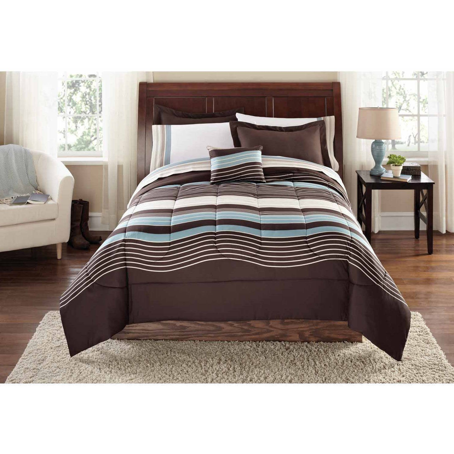 8 Piece Dark Brown Boys Rugby Stripes Pattern Comforter Set Full With Sheets, Beautiful Sports Striped Nautical Theme, Horizontal Cabana Lines, Vibrant Sky Blue Brown, Polyester Microfibre