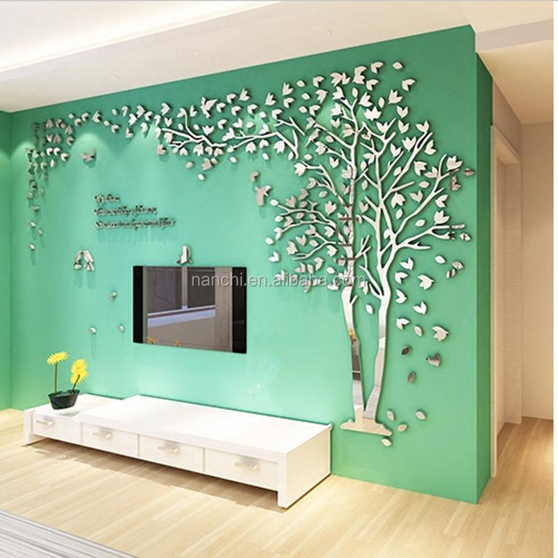 3D Árvore Espelho Acrílico Adesivos De Parede Amantes