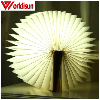 100% environmental USB foldable wood decoration light/LED lumio book shaped table lamp